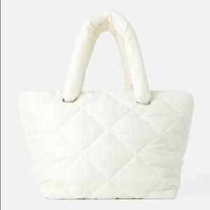 Zara ecru color quilted shopper bag